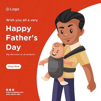 Progettazione di banner di sconto felice giorno di padri su tutti i prodotti piatto squadra in stile cartone animato