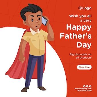 Progettazione di banner di sconto felice giorno di padri su tutti i prodotti piatto squadra in stile cartone animato Vettore Premium