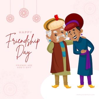 Banner design di felice giorno dell'amicizia illustrazione in stile cartone animato