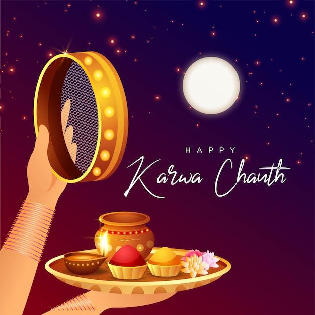 Banner design del modello felice karwa chauth