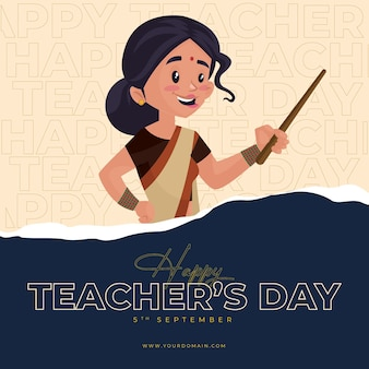 Banner design di felice giornata degli insegnanti illustrazione in stile cartone animato