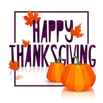 Banner design per un felice giorno del ringraziamento poster ringraziamento con decorazione zucca e foglie di acero autunnali