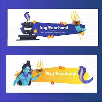 Banner design del modello happy nag panchami del festival indù