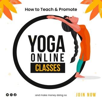 Progettazione di banner su come insegnare e promuovere il modello online di lezioni di yoga