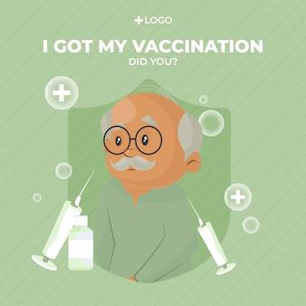 Banner design di ho ricevuto la vaccinazione