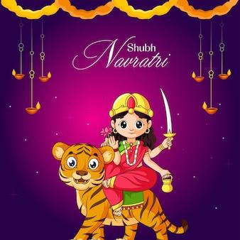 Banner design del modello festival indiano subh navratri