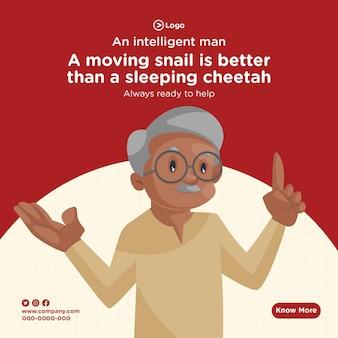 Design di banner di un uomo intelligente sempre pronto ad aiutare lo stile dei cartoni animati