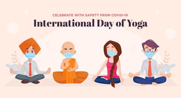 Il design del banner della giornata internazionale dello yoga celebra con sicurezza da covid19