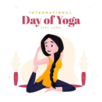 Design della bandiera della giornata internazionale del modello di yoga