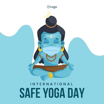 Progettazione di banner della giornata internazionale di yoga sicuro
