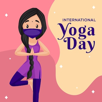 Banner design del modello di stile cartone animato giornata internazionale di yoga
