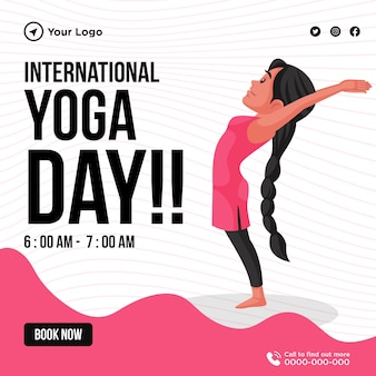 Banner design del modello di giornata internazionale di yoga