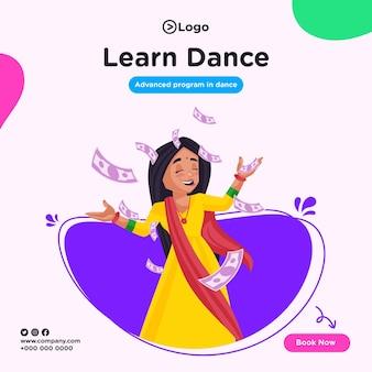 Banner design di imparare la danza in stile cartone animato illustrazione