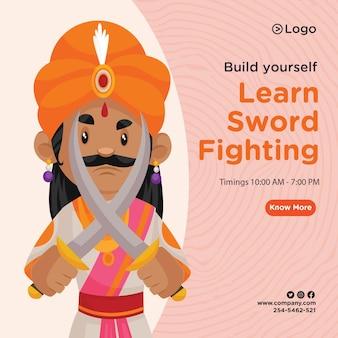 Banner design di imparare il modello di combattimento con la spada
