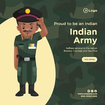 Banner design orgoglioso di essere un esercito indiano in stile cartone animato