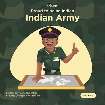 Banner design orgoglioso di essere uno stile cartone animato dell'esercito indiano