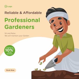 Progettazione di banner per un servizio di giardinaggio professionale affidabile e conveniente