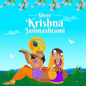 Banner design del modello di festival indiano shree krishna janmashtami