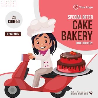 Banner design di offerta speciale torta panetteria consegna a domicilio modello stile cartone animato