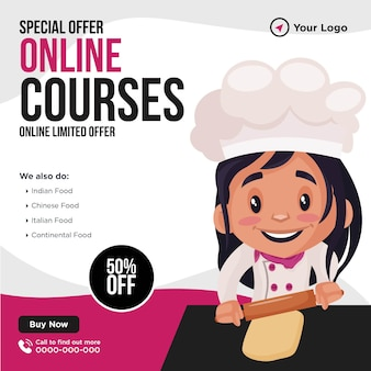 Banner design del modello in stile cartone animato di corsi online di offerte speciali