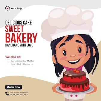 Banner design del modello in stile cartone animato di una deliziosa torta da forno dolce