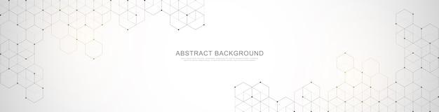 Modello struttura banner. sfondo astratto con forme geometriche ed esagono.