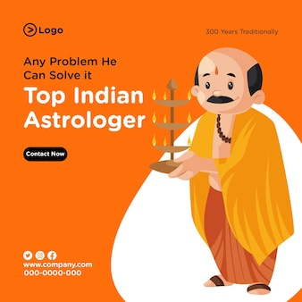 Design della bandiera del modello di astrologo indiano superiore