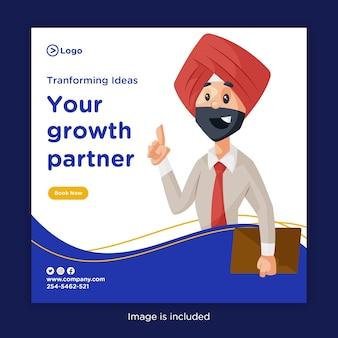Progettazione di banner per trasformare l'idea con il tuo partner di crescita