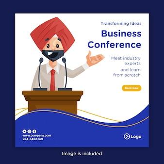 Progettazione di banner per trasformare le idee in conferenza di lavoro con un esperto del settore