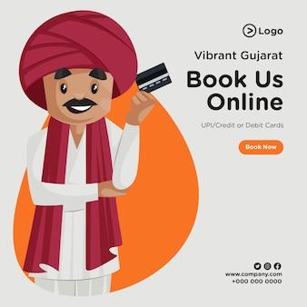 Design del banner per visitare il gujarat e prenotarci online