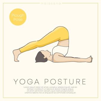 Banner design con illustrazione disegnata a mano di una giovane donna sana che pratica yoga in abito pastello vector illustration