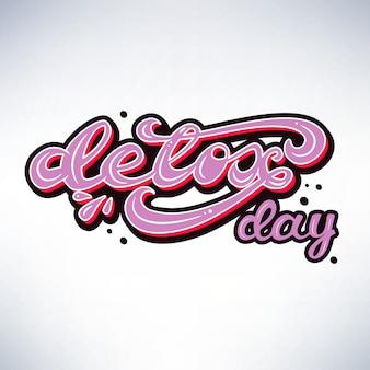 Banner design con lettering detox day. illustrazione vettoriale