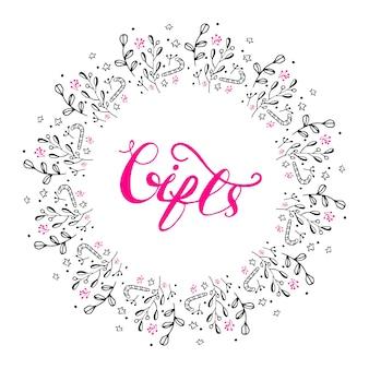 Design di banner con lettering regali. illustrazione vettoriale