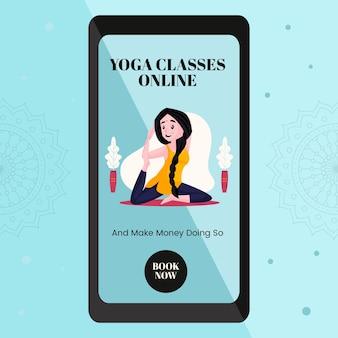 Progettazione di banner di lezioni online di yoga