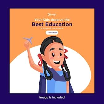 Il design dei banner dei tuoi bambini merita la migliore educazione con la ragazza della scuola che vola su un aeroplano di carta