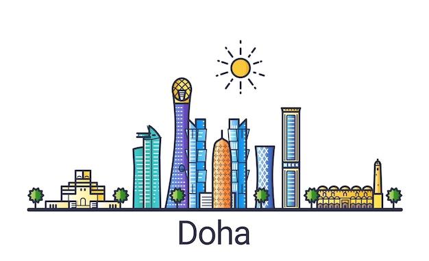 Banner di skyline della città di doha in stile alla moda linea piatta. arte di linea della città di doha. tutti gli edifici separati e personalizzabili.