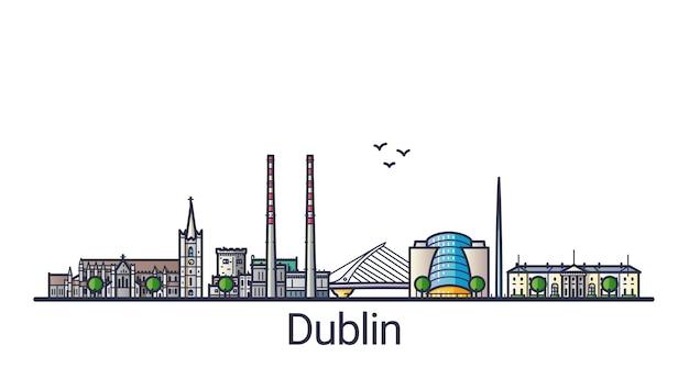 Banner della città di dublino in stile alla moda linea piatta. arte di linea della città di dublino. tutti gli edifici separati e personalizzabili.