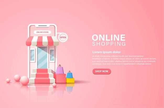 Banner di facilità di acquisto in un negozio online sempre e ovunque