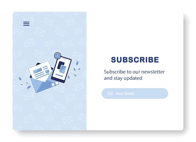 Banner di email marketing con busta aperta con lettera e telefono per iscrizione alla newsletter, offerte. blu