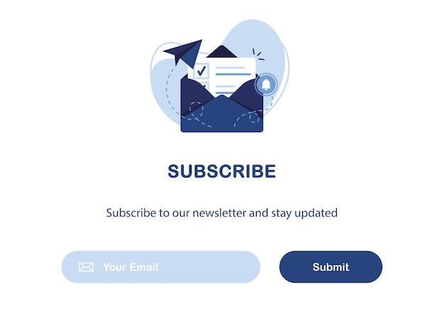 Banner di email marketing con busta aperta con lettera per iscrizione a newsletter e offerte. blu