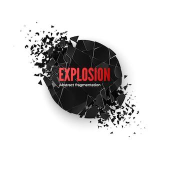 Simulazione di esplosione di banner. esplodere e distruggere. effetto di frantumazione del cerchio. illustrazione su sfondo whide