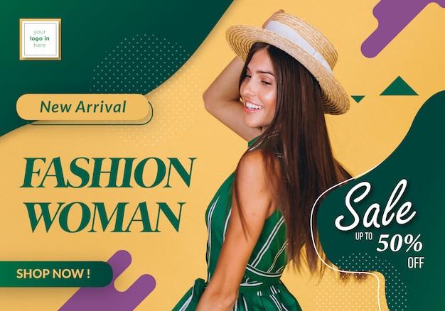 Modello di moda banner Vettore Premium