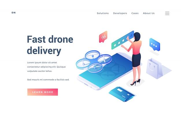Banner per un servizio di consegna veloce dei droni