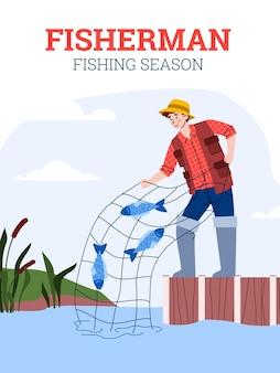 Banner per la stagione di pesca con illustrazione vettoriale piatto di carattere pescatore