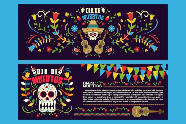 Banner flyer day of dead in mexico, dia de los muertos holiday party template