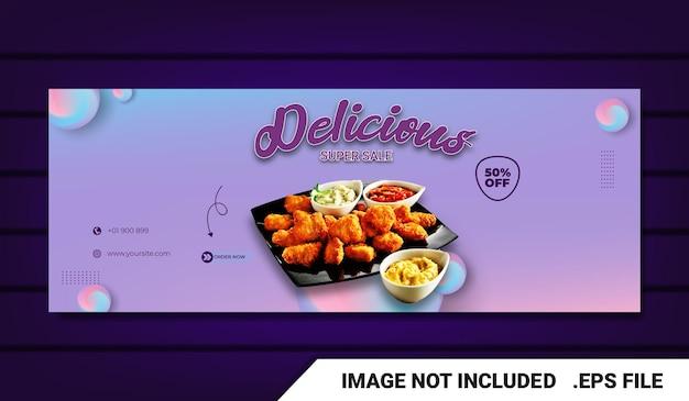 Banner menu cibo modello di copertina facebook con effetto testo modificabile
