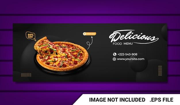 Banner menu di cibo e modello di copertina di facebook del ristorante