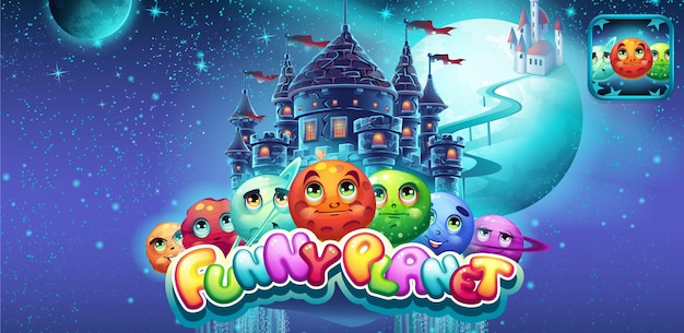 Banner gioco divertente pianeta