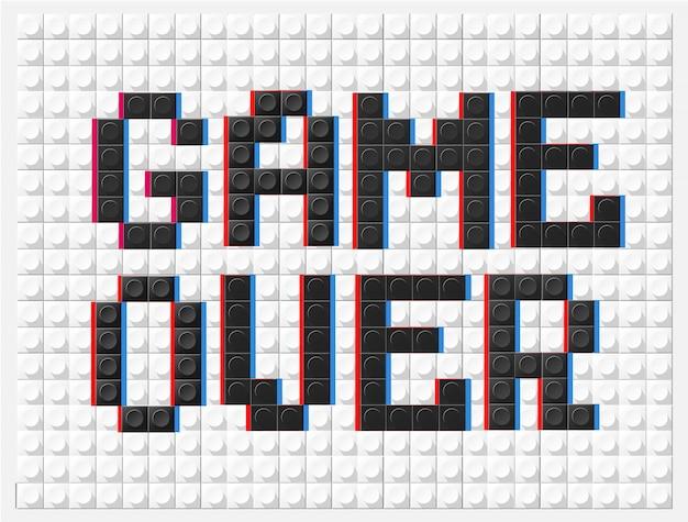 Banner game over nello stile di un designer per bambini in bianco e nero