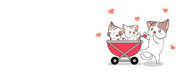 Banner saluto adorabile gatto si prende cura di 2 cuccioli di gatto